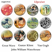 Great Wave John William Waterhouse Gustav Klimt Van Gogh Art Fridge Magnet Glass 12pcs 25mm Magnetic Sticker Refrigeratol Decor