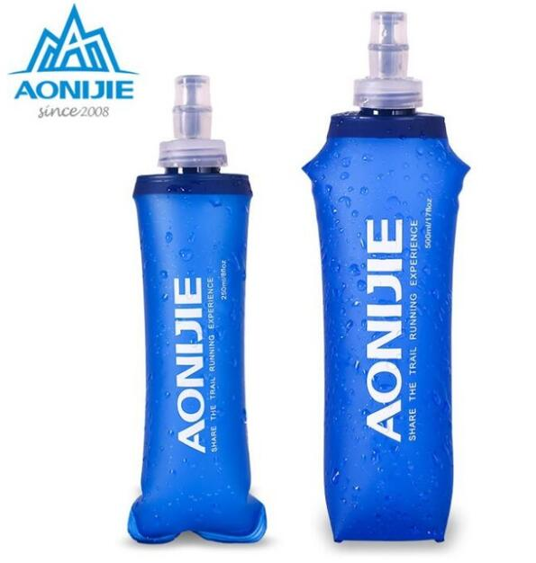AONIJIE 1Pcs Foldable Silicone Water Bottle Outdoors Traveling Sport Running Cycling Kettle Healthy Soft Material 250ML 500ML water bottle