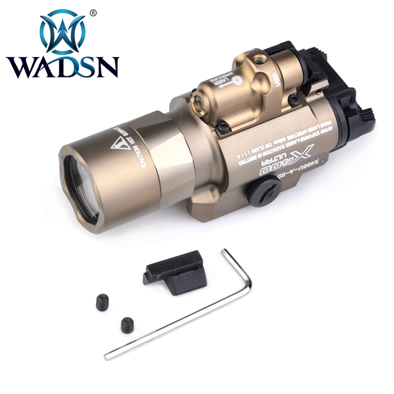 Wadsn Airsoft SF X400 CREE Ultra Weapon LED Pistol M4 Rifle Flashlight Red Dot Laser Combo Sight 20mm Rail Mount WEX367