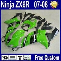 7gifts Motorcycle fairing kits for kawasaki ninja green black 2007 ZX6R 2008 ZX 6R 636 ZX 6R 07 08 Customize road racing fairing