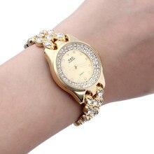 2016 Vestido de Las Mujeres Relojes Elegante Pedrería de Cristal de Cuarzo Reloj de pulsera de Señora Partido Brazalete de La Pulsera Del Relogio Reloj Ocasional