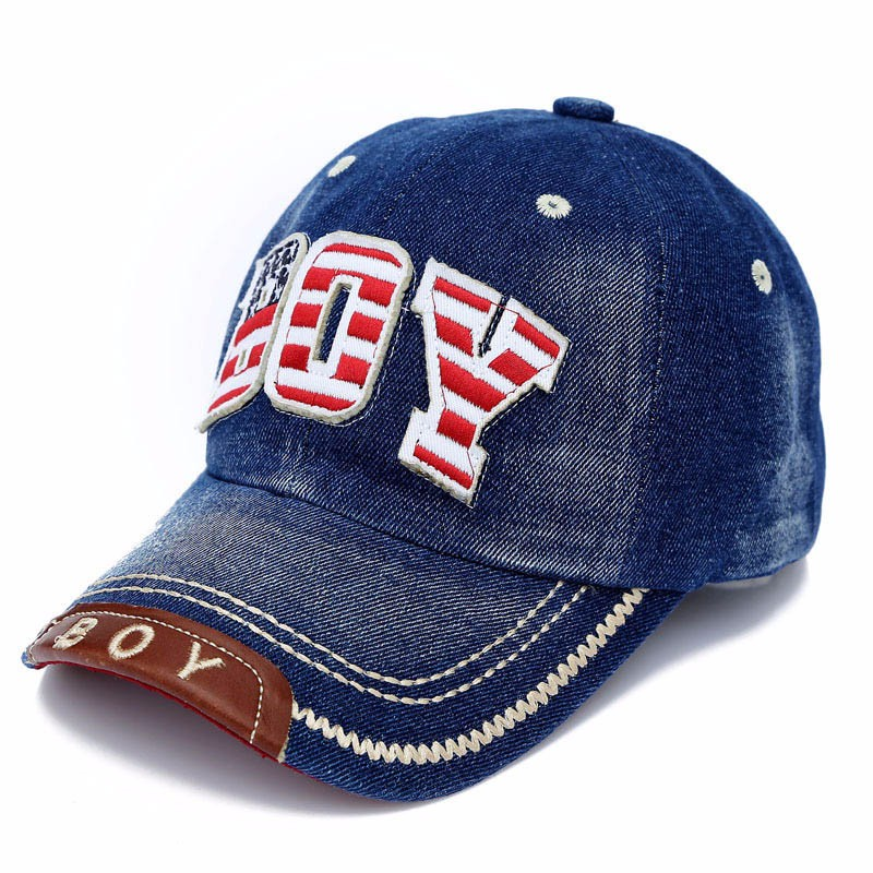 "Red, White and Blue Embroidered ""Boy"" Child's Baseball Cap - Dark Blue Denim"