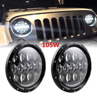 7 Round 105W LED Headlights W Dual Low High Beam And White Daytime Running Lights Yellow