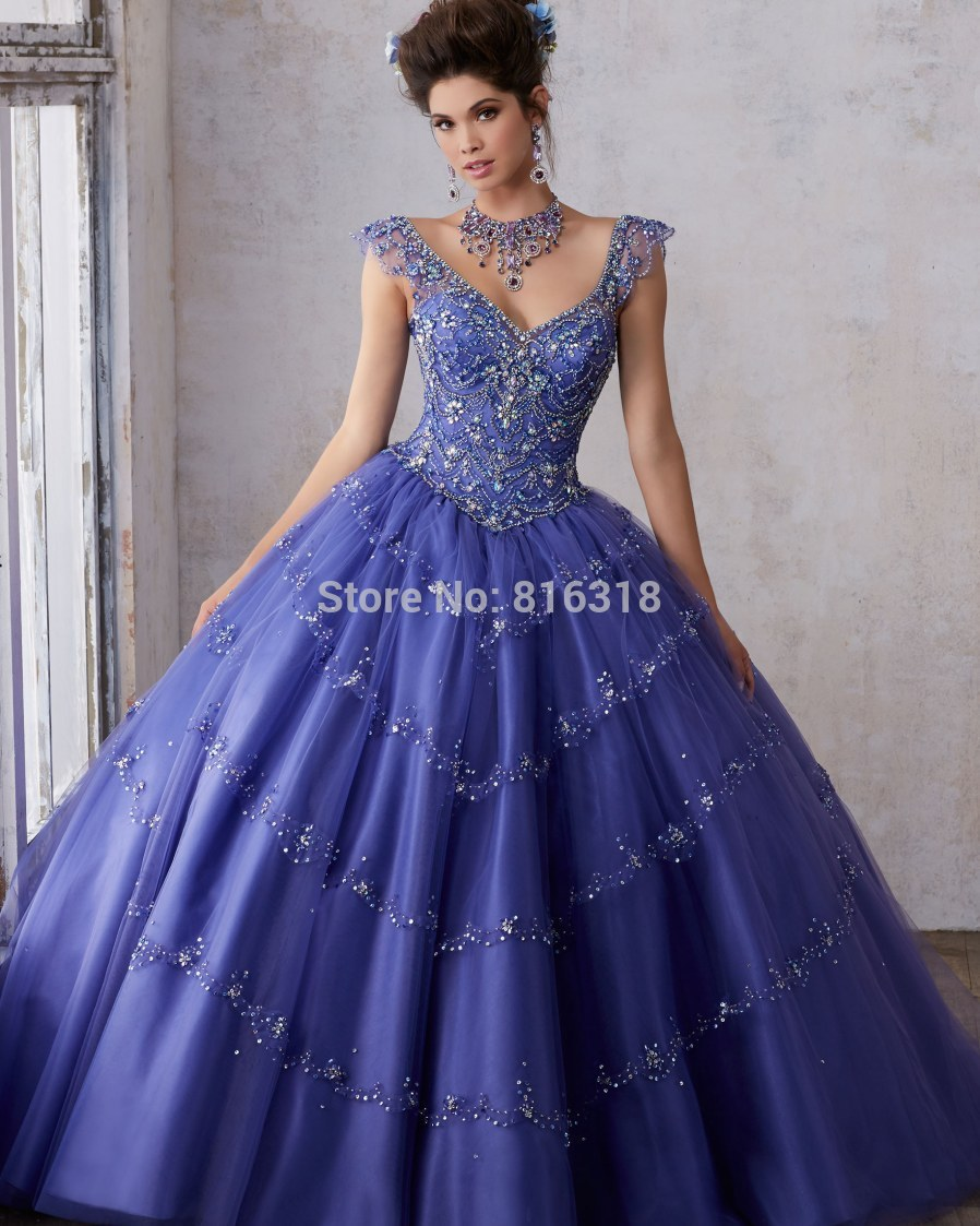 Hot Sale Pink Purple Quinceanera Gowns Beaded Crystal Cap Sleeve Ball Gown  Cheap Quinceanera Dresses For 15 Years Sweet 16 Dress 35b675fb4f14