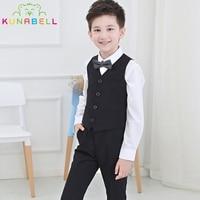 Brand Baby Flowers Boys Formal Suit Wedding Birthday Dress Gentleman Kids Waistcoat Shirt Pant Bowtie 4Pcs
