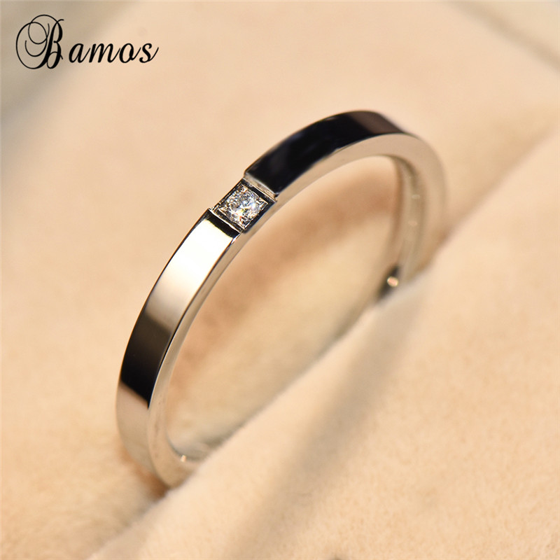 Bamos Dainty-Ring Wedding-Jewelry Stackable Silver-Filled Retro Minimalist Rose-Gold/925