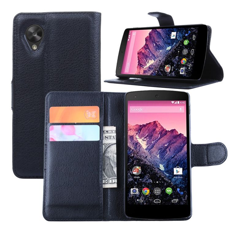 For Google nexus 5 case cover ,New 2015 fashion luxury filp Lychee leather wallet stand  ...