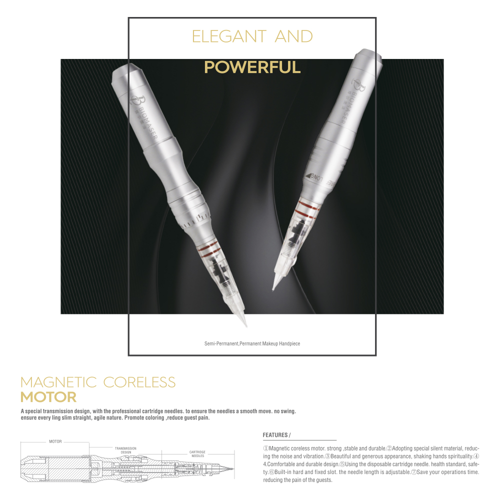 Biomaser Máquina de Maquillaje Permanente Tattoo Pen Machine Motor - Tatuaje y arte corporal - foto 5
