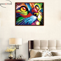OKHOTCN Colorful Cat Abstract DIY Digital Painting By Numbers Modern Animals Wall Art Picture For Home