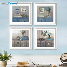 4 Piece Elegant Blue Style Flowers Pictures Still Life Oil Painting Modern Wall Art Print on canvas painting for Home Decoration