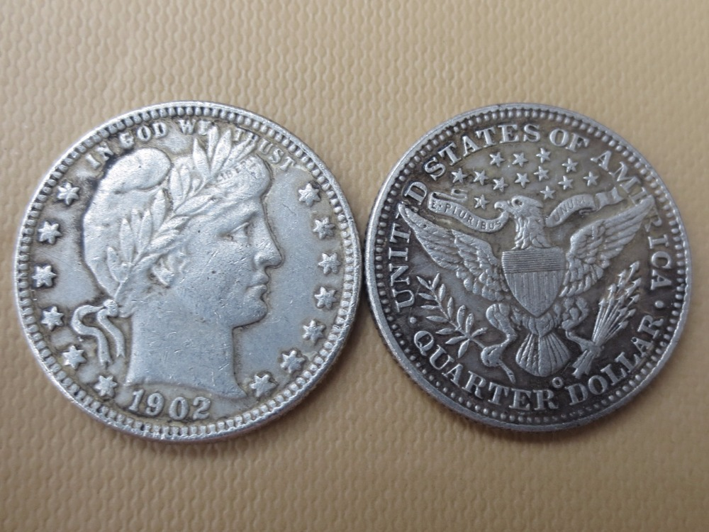 90% silver or silver plated U.S. Coins 1902-O Barber Quarter Dollars Retail / Whole Sale USA High Quality Copy Coins