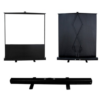 92'' Mobile professional Pull up Floor Projector Projection Screen with HDTV Format 16:9 in Aluminium Case , Matte White