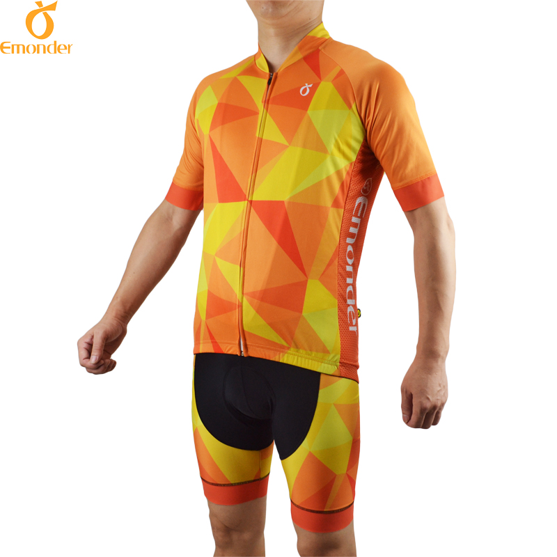 EMONDER Cycling jersey Set Pro Team Bike Clothing Gel Padded bib Shorts Breathable New Style 2017 Italy Antislip Sleeve Cuff/leg