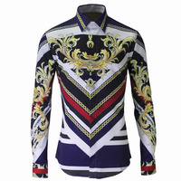 Men Shirt Luxury Brand 2017 Male Long Sleeve Print Shirts Casual Floral Multi Button Hit Color
