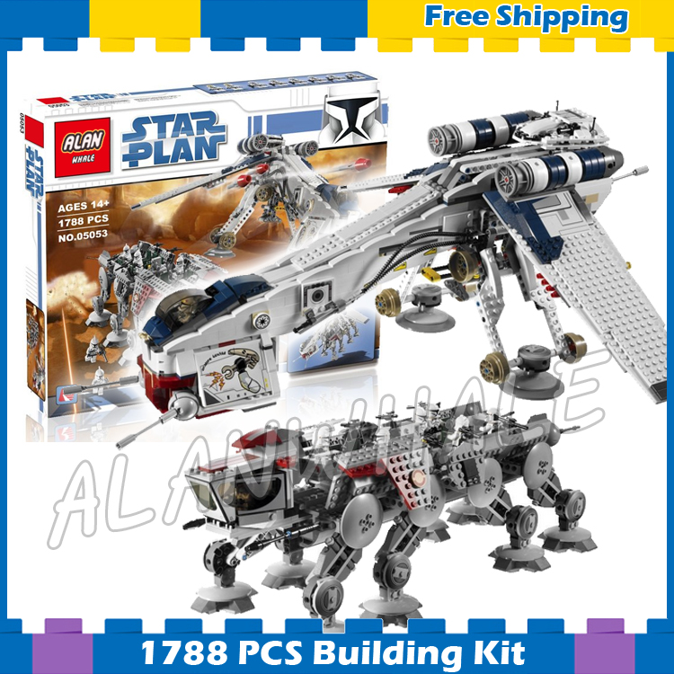 1788pcs Space Wars Republic Dropship with AT-OT Walker 05053 DIY Model Building Blocks Teenagers Gifts Sets Compatible with Lego spacerail diy physics space ball rollercoaster with powered elevator 26000mm rail