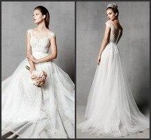 free shipping sexy long cap sleeve 2014 romantic casamento vestido de noiva renda cheap Bridal Gown vintage lace wedding dress