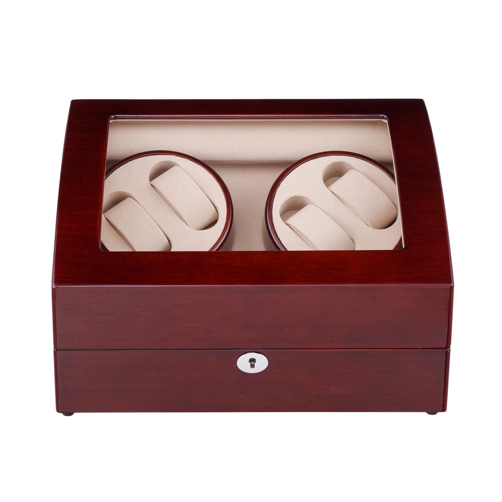 Dobadoura do Relógio Caixa de Armazenamento de Madeira Vermelho por Dentro Branca o Novo Estilo de 2020 4 + 6 Ltcj Display Case Rotação Automática Exterior é