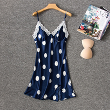 Herislim Silk Nightgown Women Fashion Polka Dot Night Dress Sexy Lingeries Lace Trim Summer Dress Short Sleepwear Home Clothes недорого