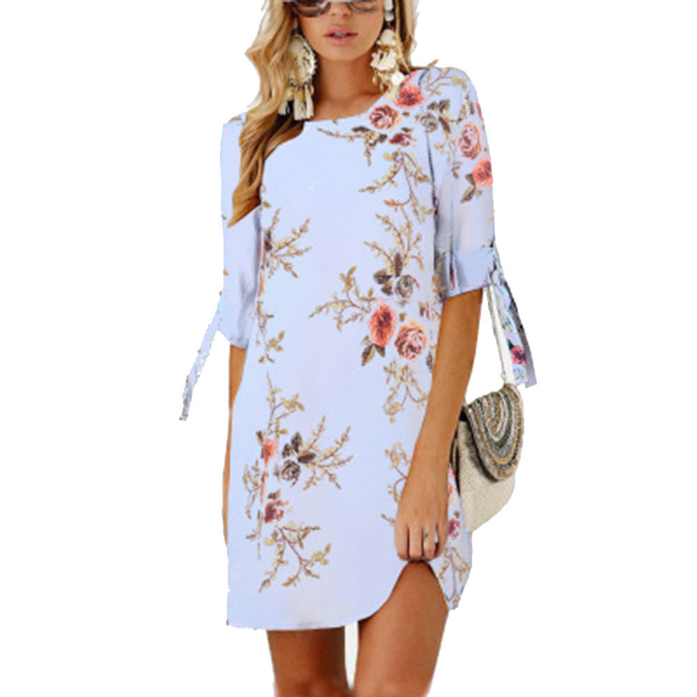 Women Summer Dress Boho Style Floral Print Chiffon Beach Dress Tunic Sundress Loose Mini Party Dress Vestidos Plus Size 5XL