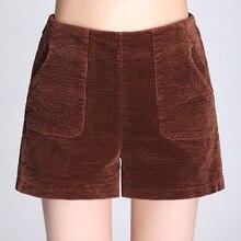 Shuchan Corduroy Autumn Winter Shorts Women 2018 New Casual Loose Elastic High Waist Female Thick Solid Short Warm
