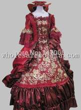 17 18th Century Baroque Rococo Dark Red Marie Antoinette Period Dress Halloween Costume