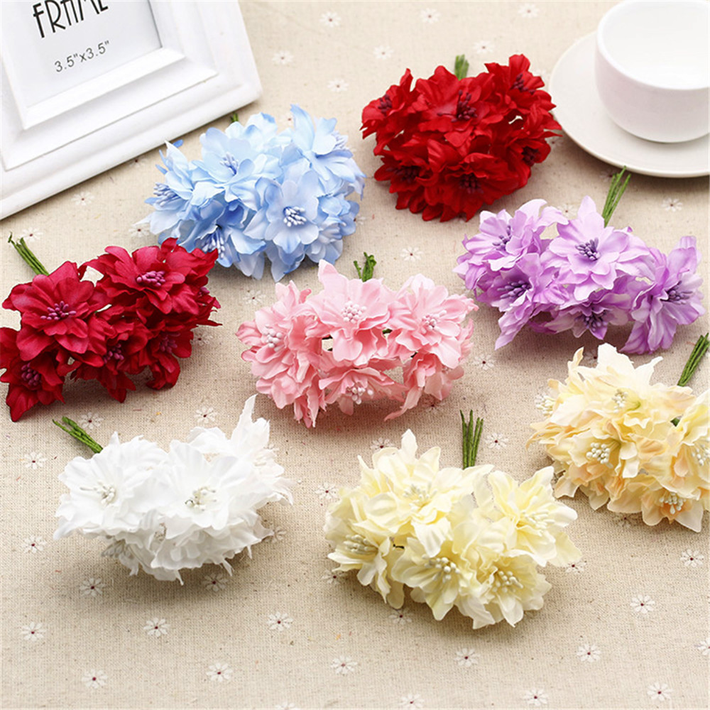 Cheap 12pcs lot silk gradient artificial lily flower for Artificial flower for wedding decoration
