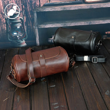 ETONWEAG New 2016 men famous brands Italian leather vintage organizer barrel shoulder bags brown casual bucket messenger bags