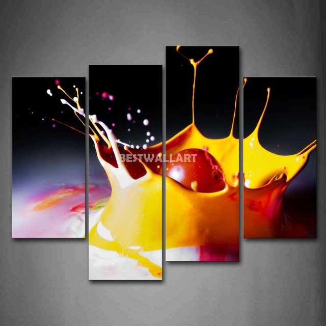 Cherry With Splash Juice 4 Piece Painting On Canvas Wall Art Picture Print Food 3 5 & Cherry With Splash Juice 4 Piece Painting On Canvas Wall Art Picture ...