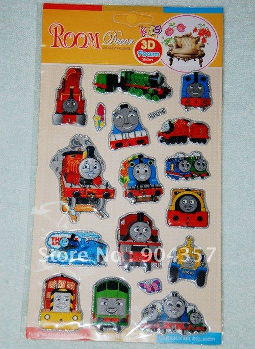 Kids 3d foam stickers room spider man cars dora thomas for Room decor 3d foam stickers