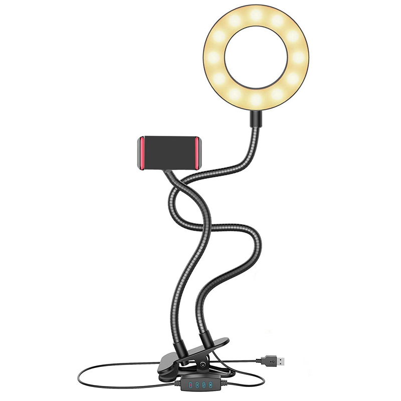 Selfie Ring Light,Selfie Light With Cell Phone Holder Stand For Live Stream Makeup Including Remote Shutter,Led Camera Light 3
