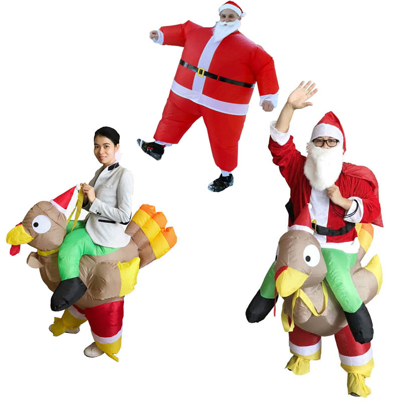 Inflatable Roast Turkey Costume Santa Claus Ride Chicken For Adults Inflatable Christmas Dress Mascot Cosplay Costume Clothing