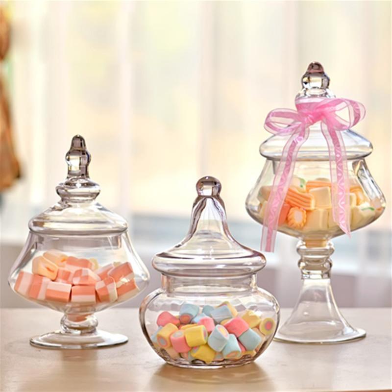 Bocal à bonbons en verre transparent européen bouteilles de stockage en verre résistant à la poussière avec couvercle décor artisanat dessert stand fournitures de mariage