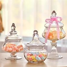 European transparent  Glass Candy Jar glass storage tank bottles dust-proof with lid Decor Crafts dessert stand wedding supplies