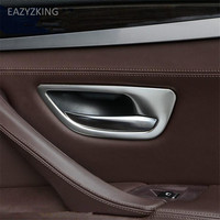 EAZYZKING Car styling stainless steel inner door armrest Handle decorative trim cover case For BMW F10 F18 520 525