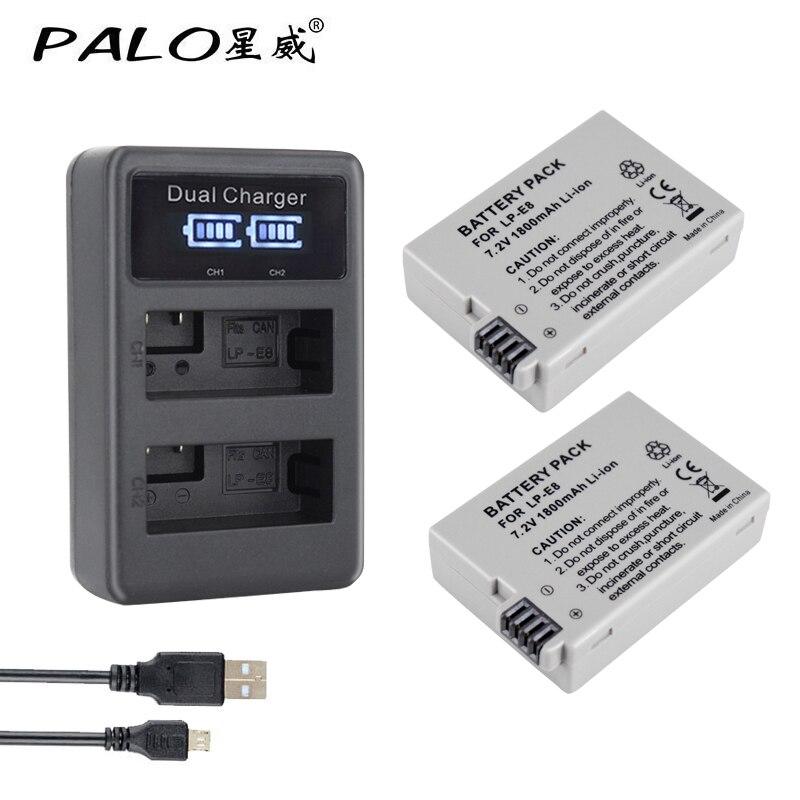 2 Pcs 1800 Mah Lp-e8 Lpe8 Lp E8 Batterie Batterie Akku Lcd Dual Ladegerät Für Canon Eos 550d 600d 650d 700d X4 X5 X6i X7i T2i T3i Unterhaltungselektronik