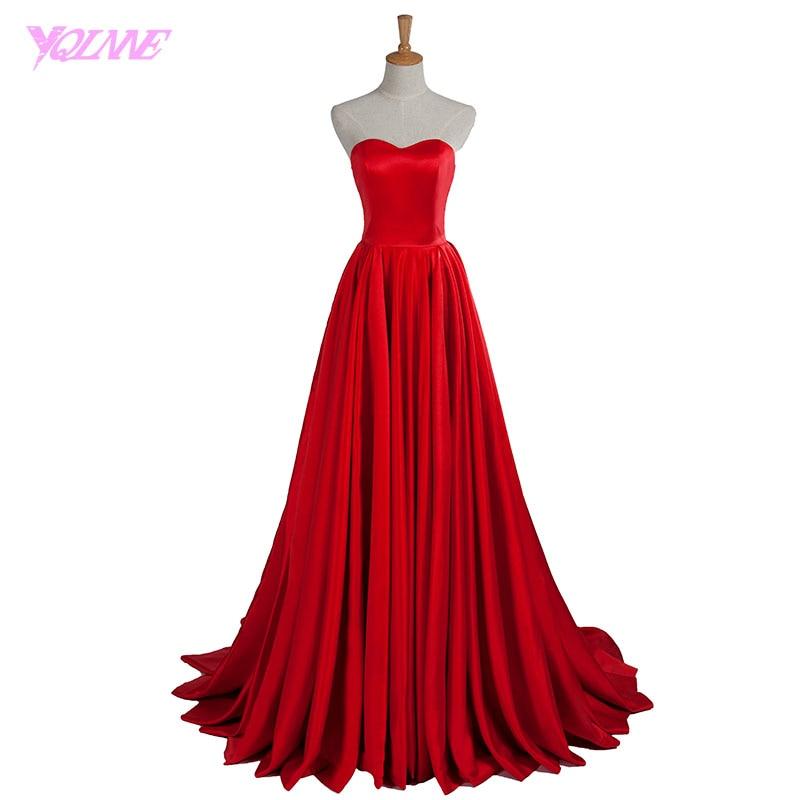 YQLNNE 2018 Red Long   Evening     Dress   Sweetheart Satin Zipper Back Vestido De Festa Robe De Soiree