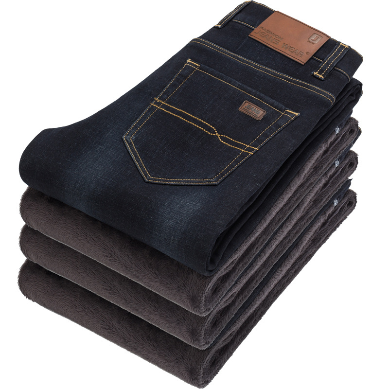 Winter plus wool thickening warm men's casual jeans