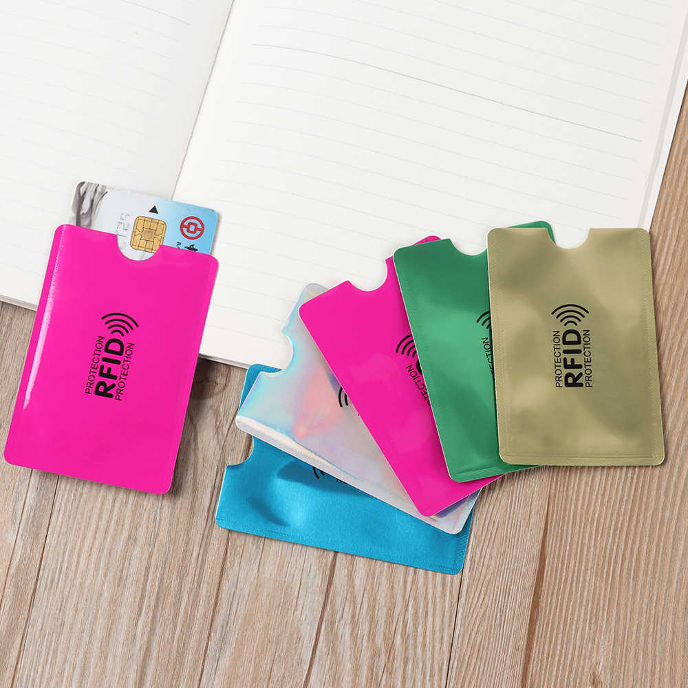 10Pcs Anti Rfid Colorful Blocking Reader Lock Card Holder Id Bank Card Case Protection Metal Aluminium foil Credit Card Holder
