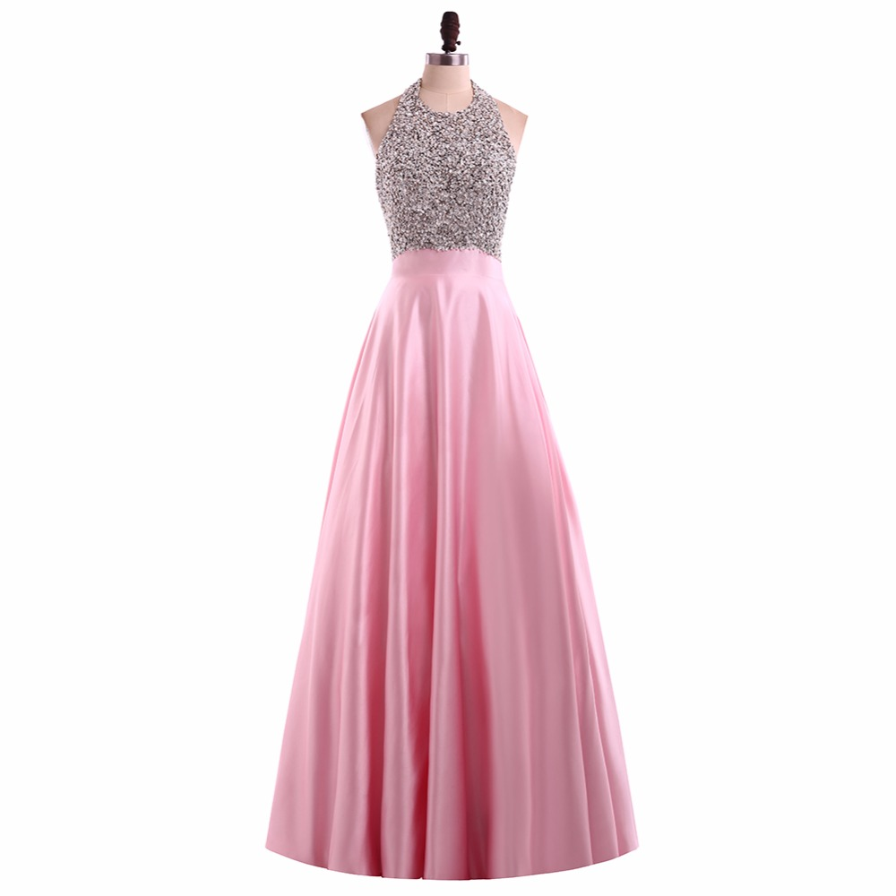 New Halter Beaded Long Prom Dresses Backless Party Dress Silver ...
