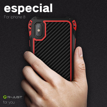 R-just For Apple iPhone 8 Case Shockproof Dustproof Aluminum Metal Carbon Fiber Phone Armor Cover iPhone8
