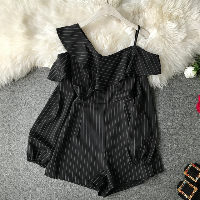 Ruffle Short Women Jumpsuit Striped White Long Sleeve Off Shoulder Black Boho Red Pink Summer Sexy Beach Rompers Women Jumpsuit 1