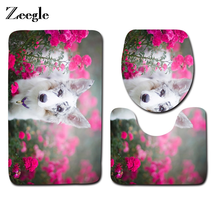 Zeegle 3pcs Bathroom Mat Set Cute Dog Pattern Toilet Rugs Anti-skid Bathroom Floor Mats Absorbent Toilet Mat and Bath Rug Sets