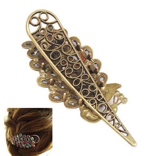 2 pcs x Lovely VInTage Crystal Peacock Hair Clip-Colorful