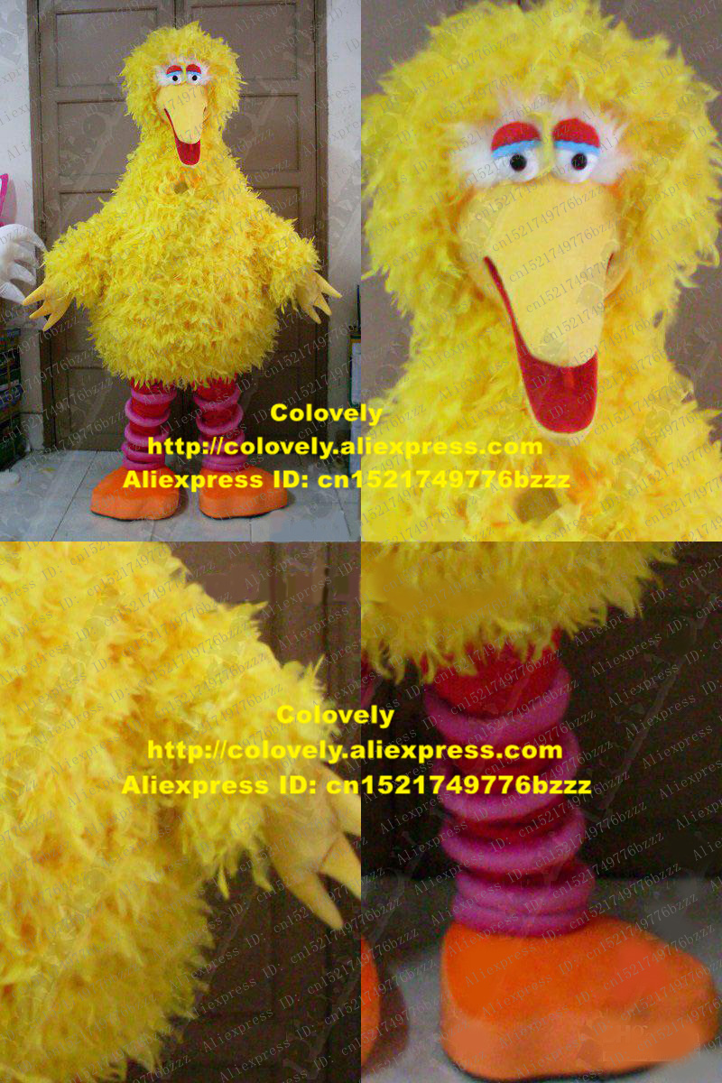 US $243 2 5% OFF|Likable Yellow Big Bird Mascot Costume Mascotte Sesame  Street Plush Long Fur With Large Chubby Body Adult Size No 534 Free Ship-in