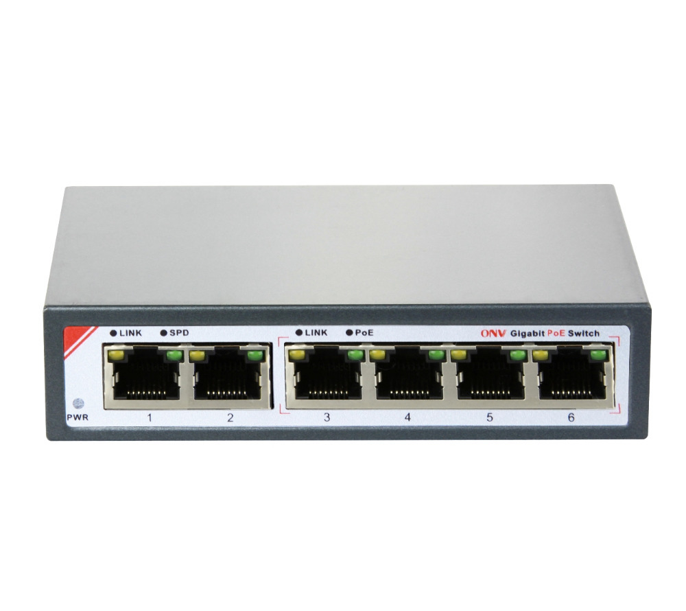 6-Port Gigabit PoE Switch with 4 Gigabit PoE Ports (IEEE802.3at) and 2 Gigabit uplink