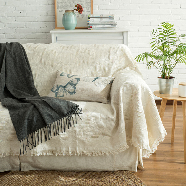 Mdct Pure Beige Cotton Blanket Sofa Chair Table Cover Slipcover Throw Home Decorative Tapestry Travel Picnic