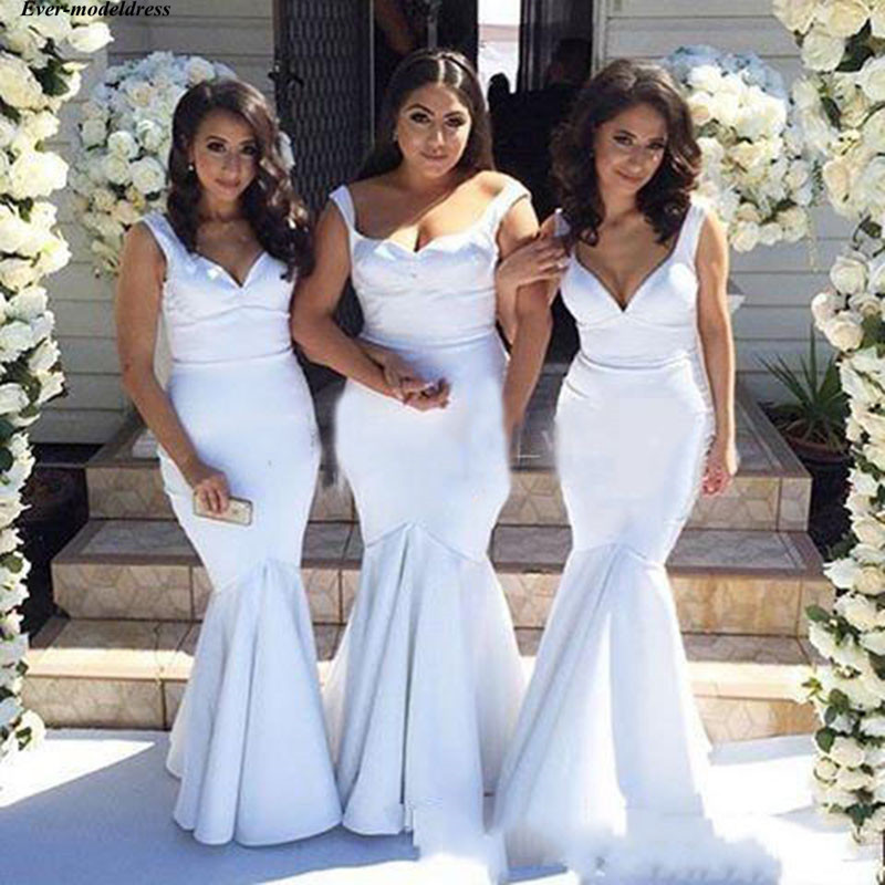 White Mermaid   Bridesmaid     Dresses   Spaghetti Sleeveless Simple Wedding Guest Party Gowns Maid Of Honor   Dresses   Cheap