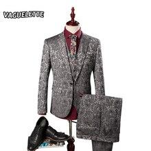 (Пиджак + Брюки + Жилет) Herren Anzug Hochzeit Лозы Цветочные Узоры Мужские Дизайнер Одежды Мода Смокинг Роскошный Костюм Homme M-3XL