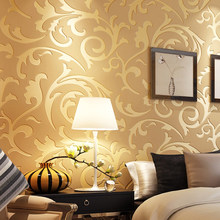 Classical European Style Non Woven Wall Paper Roll Yellow/grey Wallcovering Luxury Floral Wallpaper for Bedroom Walls(China)