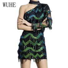 WUHE Womens Fashion Black Sequins Dress Sexy Hollow Out One Shoulder Autumn Long Sleeve Luxury Mini Party Club Wear
